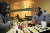 DM0046   Kirk Hurd, 45, and Terrence Johnson, 41, play chess in Mental Health Transition Unit 22A...