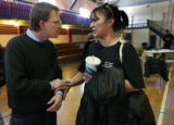 Bill Murray with the EPA Dir. of the Super Fund site tries to comfort Olga Valenzuela who had...