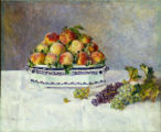 1. Still Life with Peaches and Grapes, 1881, by Pierre-Auguste Renoir (1841-1919).  Oil on canvas,...