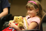 Makenna Nolop, 7, attends a support group, called Kids Alive, at Porter Adventist Hospital on...