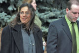 Laura Hagan (cq), left, and her attorney Joe Lazzara(cq) walk outside Arvada Municipal Court...