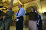 In the rotunda bi-partisan lawmakers unveiled 2008 elections bill and presenting were Sen....