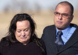 (Kiowa, Colo., December 15, 2004) Jacqueline McCuen, left, cries as she walks into court with her...