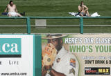 00734 Fans hang out in the outfield as the Colorado Rockiesbeat the the Chicago White Sox 7-3 at...