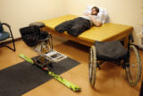 29-year-old Christopher Fesmire (cq) takes a nap at one of the rooms at the Apen Seating Company,...