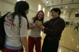 After school and in the gym, Yael Gottleib,(cq) senior watches as Naomi Clayman, (cq) soph.and Sam...