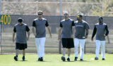 00051 Colorado Rockies', from left to right, Marcus Giles, Garrett Atkins, Matt Holliday, Yorvit...