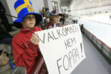 DM0042   Oliver Larsson, 11, left, and his twin brother Lukas Larsson welcome back their hero...