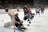 (12/15/2004)Loveland, Colorado-Colorado Eagle Ryan Tobler scores on the Amarillo Gorillas  on...