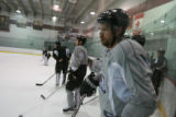 DM0420   Peter Forsberg participates in his first full-team practice since his return to the...