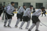 DM0485   Peter Forsberg participates in his first full-team practice since his return to the...