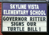 A sign hangs outside Skyline Vista Elementary School the day Gov. Ritter  signs House Bill 08-1017...