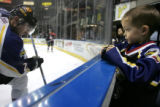 (12/15/2004)Loveland, Colorado-Colorado Eagles fan Easton Radcliff, 4, Fort Collins, watches a...