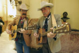 L to R: Billy Whitfield (cq) and  Cowboy Wes  (Rep. Wes McKinley (cq) D-Walsh)  and his band...
