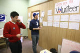 Barrack Obama campaign volunteers, John Spears (left) and Theodore Fetter prepare for the upcoming...