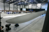 0730 A 40 meter blade was displayed during a grand opening ceremony of the Vestas Blades America...