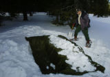 (CAMERON PASS, hwy 14, Colo., December 14, 2004) Step 2 of a Snow Trench.  Don Davis, of...