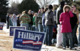 Hundreds line up outside the Univ of Wyoming Sports Complex to hear Bill Clinton stump for Hillary...