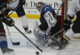 [ JOE791 ] Colorado Avalanche goalie Jose Theodore watches the puck in the second period against...