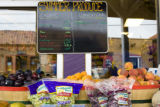 Produce sits outside at Mountain People's Co-op on First street downtown Nederland, Colo. Store...