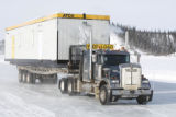 "Truck driving down an ice road on ""Ice Road Truckers"""