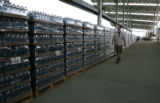 Rob Thomas (cq), checks out the bottled water supply, at Dick's Sporting Goods Park, for the Mile...