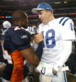 (DENVER, CO., JANUARY 02, 2005) Denver Broncos' #24, Champ Bailey, left, Indianapolis Colts' #18,...
