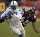 (DENVER, CO., JANUARY 02, 2005) Denver Broncos' #45, Roc Alexander, right, miss times the ball as...