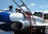 BE0612AIR05.jpg_.jpg BE0608AIR05 Roy Halladay prepares his Lockheed T-33 jet for takeoff Friday at...