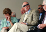 "Goose 18: Luisa Kuhn, left, is comforted by Rich ""Goose"" Gossage, Sunday, July 28, 2008,..."