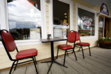 Porch seating outside Bella's Deli on First Street downtown Nederland on July 17, 2008. The...