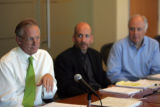 Rick Reiter, Henry Sobanet and Dan Hopkins, of Coloradans for a Stable Economy, meet with the...