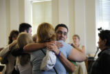 Josh Norris, the biological father of Chandler Grafner, hugs a family member after the verdict of...