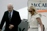 Presidential candidate John McCain and his wife Cindy arrive in Denver at the Signature executive...