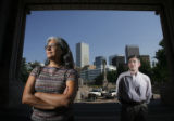 2371  Outgoing project manager for Civic Center Park Helen Kuykendall and her successor Mark...