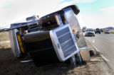 (Denver, Colo., December 20, 2004) High wind gusts of over 80 miles per hour blew over this semi...