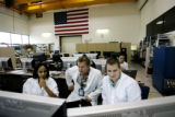 From left to right, Lockheed Martin test engineer Angie Williams, Lockheed systems test engineer...