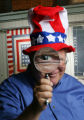 Bill Clarke poses for a story on political convention souvenirs: What are they worth? We ask Sally...