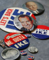Political buttons from Karen Sebesta (she's not in story). Political convention souvenirs: What...