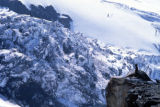 Jim Davidson (cq), lower right, looks over the Carbon Glacier looking for a route through the maze...