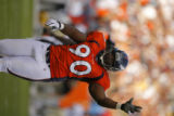 DM1854  Denver Broncos defensive tackle Kenny Peterson #90 celebrates after New Orleans Saints PK...