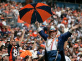 broncos fan cheer in the first quarter of the Denver Broncos against the New Orleans Saints at...