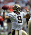 Drew Brees throws in the first quarter of the Denver Broncos against the New Orleans Saints at...