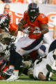 Michael Pittman runs in the third quarter of the Denver Broncos against the New Orleans Saints at...