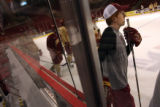 MJM341 David Carle (cq), right, watches a drill during hockey practice at the University of Denver...