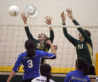 (from left) Mountain Vista HS Stephanie Simmons (cq) and Ariel Turner (cq) try to block a shot...