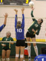 (from right)  Mountain Vista HS Ariel Turner (cq) tries to shoot the ball past  Highlands Ranch HS...