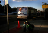(PG11898) Yvonne Scales, of Platteville, points out Obama's picture on a RV to her son Ryan, 18...