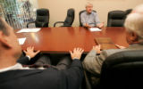 0005 Former U.S. Senator and current CU professor Hank Brown holds a round table style discussion...