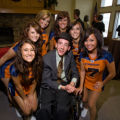 "(Broomfield, Colorado, Sept. 27, 2008) Isak Sather with Colorado Crush cheerleaders.  ""Be..."